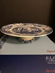 Spode Blue Italian Footed Cake Stand Blue And White Brand New In Box 10.5 Inches