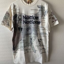 Vintage Native Nations American Indian T Shirt L Old West All Over Print Rare