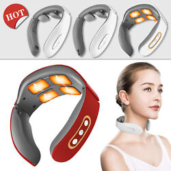 4 Heads Electric Cervical Neck Pulse Massager Shoulder Muscle Relax Relief Pain