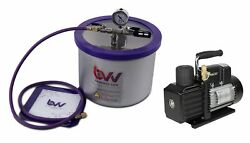 Bvv Best Value Vacs 3 Gallon Wide Stainless Steel Vacuum Chamber And Ve225 4c...