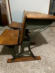 1920's Vintage American Seating Co. 4 Cast Iron Antique School Desk - 2 Avail.