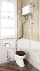 Burlington High Level Wc Toilet With Angled Flushpipe And Ceramic Cistern