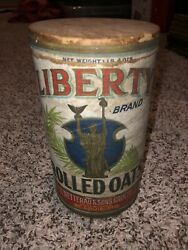 Vintage Liberty Brand Rolled Oats Box Can - St Louis Mo - Statue Rare Wetterau
