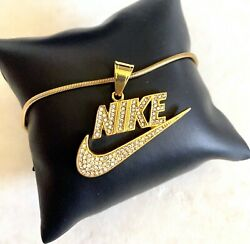 Stainless Steel Bling Nike Pendant Necklace Sports Jewelry Swoosh Pendant