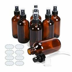 Ulg Small Amber Glass Bottles 4 Oz Spray Bottles With Labels 8 Bottles Atomizer