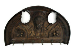 Hand Carved Wood Wall Shelf Coat Kitchen Rack Carved Head Putti Angel Stunning