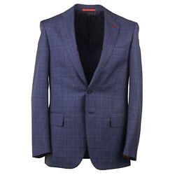 Isaia Slate Blue Check Wool Suit 38r Eu 48 Regular-fit And039nuova Base Sand039
