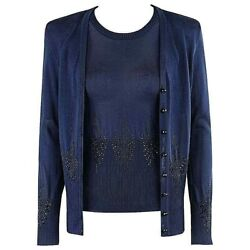 Givenchy Couture A/w 1998 Alexander Mcqueen Embellished Knit Top Cardigan Set