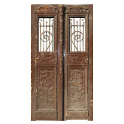 """Salvaged Pair Of Antique 42"""" French Colonial Doors With Iron Inserts, Ned1356"""