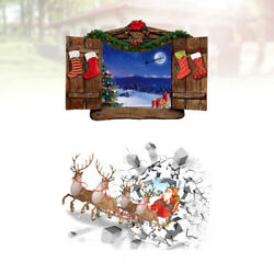 2pcs Christmas 3D Wall Decal Self adhesive Glass Decals Decoration Stickers Wall