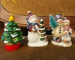 Vintage Christmas Holiday Ceramic Ornaments Decorations set of 3