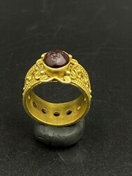 Old Antique Gold Ring With Garnet Stamp Intaglio From Ancient Greek's