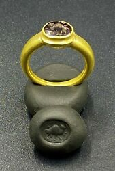 Old Antique Gold Ring With Garnet Stamp Intaglio From Ancient Roman's
