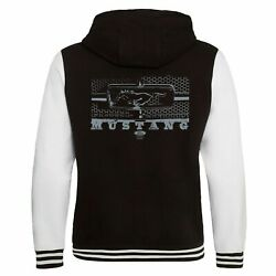 Ford Mustang Licensed Varsity Hoodie Jacket American Classic V8 Muscle Car Grill