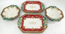 Fitz And Floyd Yuletide Holiday Handpainted 4 Pc Serving Set 2 Platters And 2 Bowls