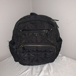 TWELVElittle 12 Companion Backpack Diaper Bag Black Zippered Pockets Quilted $29.74