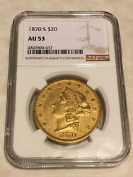 1870-s Au53 Ngc 20 Liberty Double Eagle Gold Coin Eyeclean Nice Coin No Pcgs