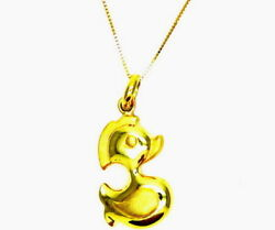 Necklace Yellow Gold 18kt 750/1000 Duck Chain Pendant Small Gander - Child