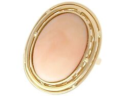 13.98ct Coral And 14 Ct Yellow Gold Dress Ring Vintage Circa 1960
