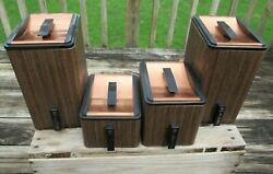 Vintage Set Of 4 Storage Containers With Copper Finish Lids, Tin Metal Canisters