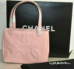 New Classic Small Tote Patent Leather Shoulder Bag Handbag Cc Pale Pink