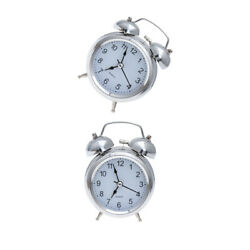 1pc Ring Bell Clock Mute Metal with Night Light Small Clock for Cafe Home