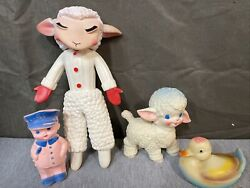 Lot Of Vintage Rubber Toys From 1950s-1960s, Lamb Chop, Duck, Police, And Lamb