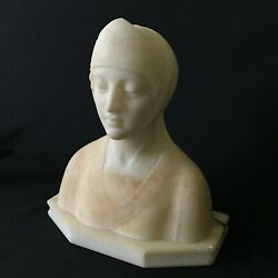 19th Italy Marble Alabaster Sculpture Bust Of Beatrice Signed By Prof.l.giachi