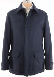 Luciano Barbera Nwt Jacket Size 50 M Us In Blue Plaid Flannel Wool Suede Trim