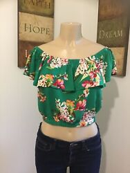 Express Blouse Small For Women's Flowered Green Color Cold Shoulders. NwT $24.90
