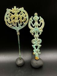 Ancient Antique Luristan Or Lorestani Bronze Figures From Iron Age 1000-650 Bc