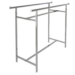 Chrome Metal Double Bar Adjustable Clothes Rack 60 In. W X 48 In. H