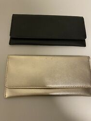 Two Safiano Pleather Gold And Black Clutch Wallets $40.00