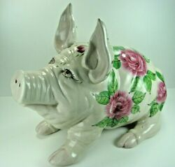 Antique Wemyss Ware Pottery Pig W/cabbage Roses And English Registry Marks 15''l
