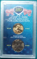2010 Lost Coins Never Released Circulation Kennedy Half /sacagawea Dollar 449