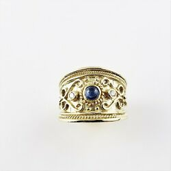 Vintage 14 Yellkw Gold Cabochon Sapphire And Diamond Band Ring Size 6.5 8477