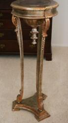 Antique Large Gold Silver Gilt Carved Wood Italian Neoclassical Pedestal Fern