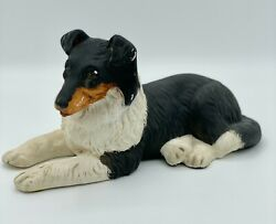 Black Rust and White Border Collie Porcelain Figurine Collectible Statue