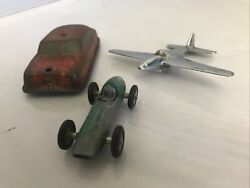 Lot Of 3 Vintage Toys Includes Aston Martin Dbr5 By Lesney, Tin Car, Airplane