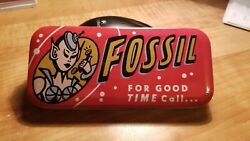 FOSSIL quot;FOR GOOD TIME Call...quot; 1991 Watch Tin Box Box Only FREE Shipping $22.99