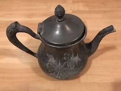 Etched Floral Coffee Or Teapot Brooklyn Silver Co Quadruple Plate 655 Antique