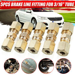 Straight Brass Brake Line Compression Fitting Unions For 3/16 Od Tubing 5pcs