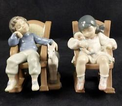 Sold Out Signed Lladro Naptime Girl And Boy Figurine