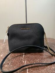 New Michael Kors Cindy Large Dome Crossbody LEATHER Black NWT MSRP $168 $98.95