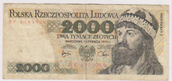 Poland 2000 Zlotych 1979 Paper Money Banknotes Currency
