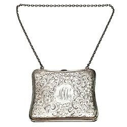 Antique Blankinton Sterling Silver Coin Purse With Monogram 3908