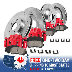 Front+rear Red Brake Calipers And Rotors + Ceramic Pads For 2005 2006 Ford F350
