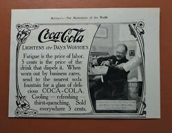 Antique 1900and039s Coke Soda - Coca-cola - 1907 Print Ad Lightens The Days Worries