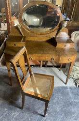 Antique French Burl Walnut Vanity Table Mirror Dressing Table Dore Torch Lights