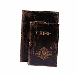 Faux Book Box Antique Wooden Leather Jewelry Keepsake Boxes Set Set Of 2, Life
